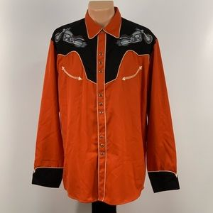 Scully Embroidered Biker Pearl Snap Button Down